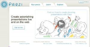 Screen cap of Prezi page