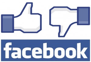 Image of Facebook logo with a like and dislike symbol.