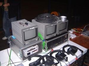 Bank of video editing monitors.