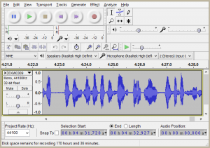 Audacity program screenshot.