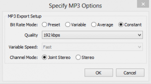 MP3 option dialog.