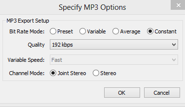 Suggested Audacity Settings for MP3 Export